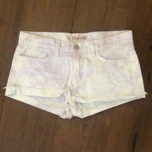 J Brand Lilac Tie-Dye Denim Cutoff Shorts
